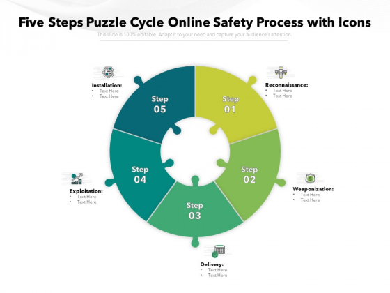 Five Steps Puzzle Cycle Online Safety Process With Icons Ppt PowerPoint Presentation Pictures Icons PDF