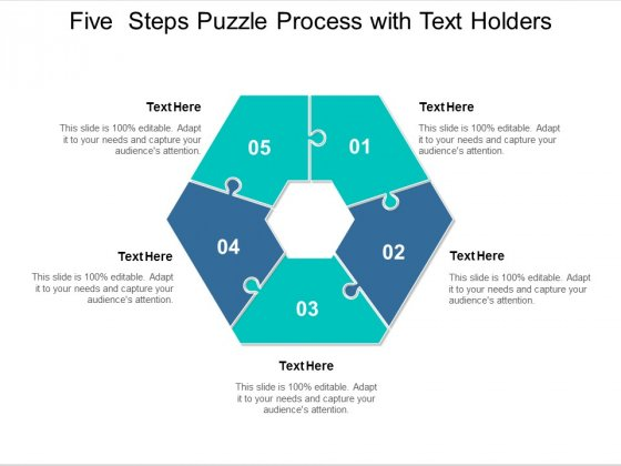 five steps puzzle process with text holders ppt powerpoint presentation layouts graphic tips