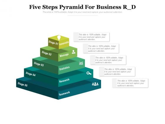 Five Steps Pyramid For Business R D Ppt PowerPoint Presentation Portfolio Backgrounds PDF
