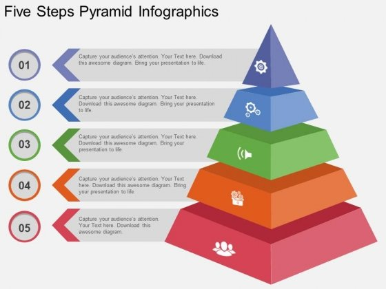 five steps pyramid infographics powerpoint template powerpoint
