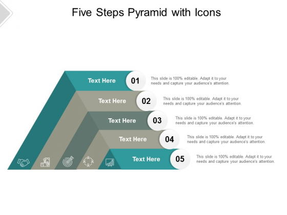 Five Steps Pyramid With Icons Ppt PowerPoint Presentation Infographics Maker