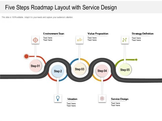 Five Steps Roadmap Layout With Service Design Ppt PowerPoint Presentation Layouts Portfolio PDF