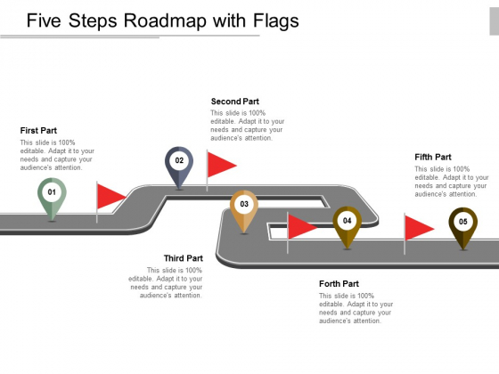 Five Steps Roadmap With Flags Ppt Powerpoint Presentation Icon Design Templates
