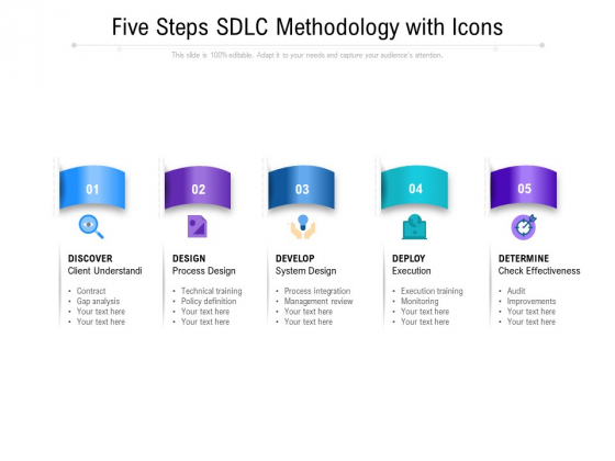 Five Steps SDIC Methodology With Icons Ppt PowerPoint Presentation Professional Structure