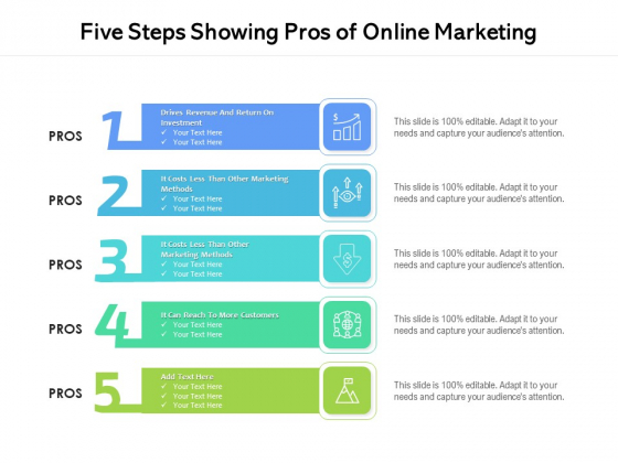 Five Steps Showing Pros Of Online Marketing Ppt PowerPoint Presentation File Structure PDF