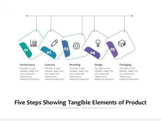 Five Steps Showing Tangible Elements Of Product Ppt PowerPoint Presentation Infographic Template Background Images PDF