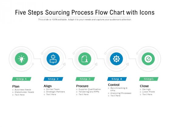Five Steps Sourcing Process Flow Chart With Icons Ppt PowerPoint Presentation Summary Influencers