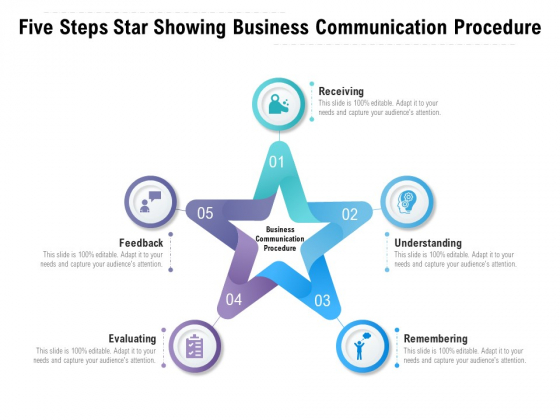 Five Steps Star Showing Business Communication Procedure Ppt PowerPoint Presentation Layouts Template PDF