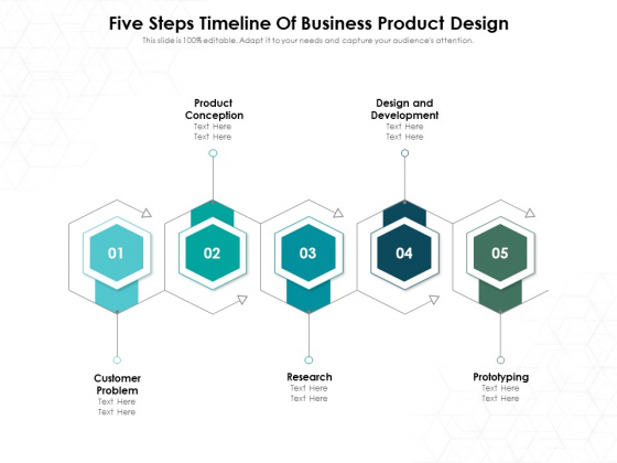 Five Steps Timeline Of Business Product Design Ppt PowerPoint Presentation Gallery Templates PDF