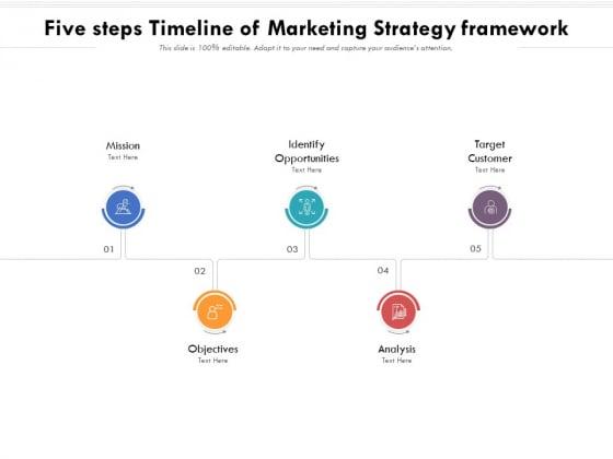 Five Steps Timeline Of Marketing Strategy Framework Ppt PowerPoint Presentation Icon Show PDF