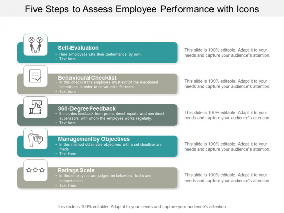 five steps to assess employee performance with icons ppt powerpoint presentation gallery topics