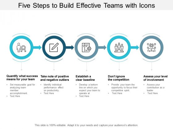 five steps to build effective teams with icons ppt powerpoint presentation slides slideshow