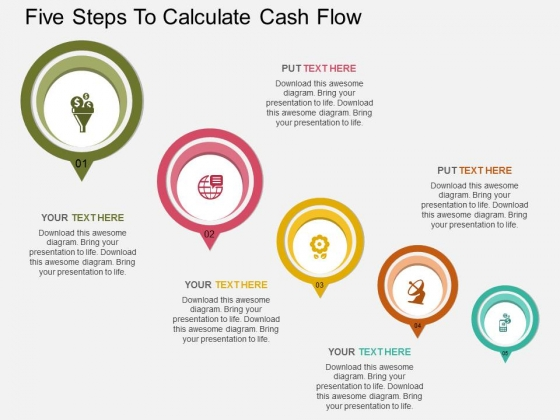 Five Steps To Calculate Cash Flow Powerpoint Template