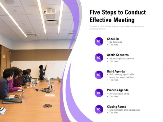Five Steps To Conduct Effective Meeting Ppt PowerPoint Presentation Show Graphics Design