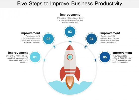 Five Steps To Improve Business Productivity Ppt PowerPoint Presentation Outline Template