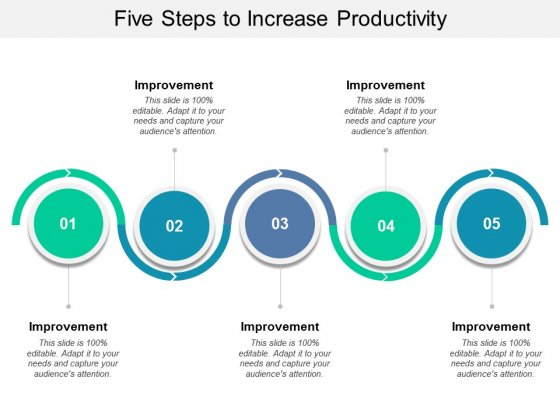 Five Steps To Increase Productivity Ppt PowerPoint Presentation Show Designs