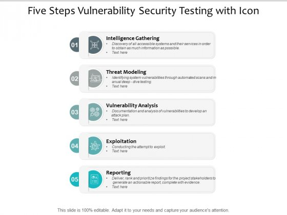 Five Steps Vulnerability Security Testing With Icon Ppt PowerPoint Presentation Inspiration Topics