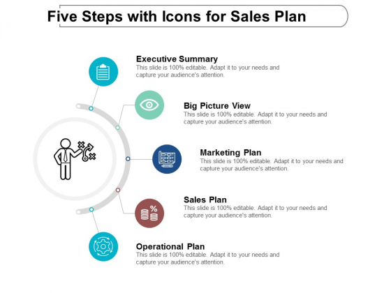 Five Steps With Icons For Sales Plan Ppt Powerpoint Presentation Professional Graphics Download