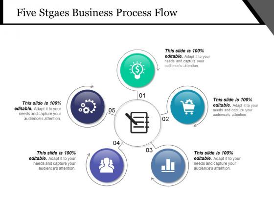 Five Stgaes Business Process Flow Ppt PowerPoint Presentation Show Vector