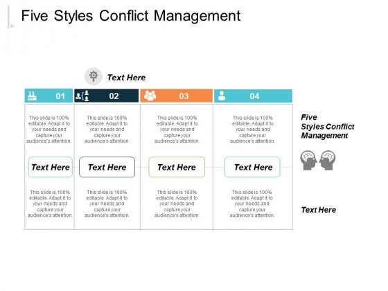 Five Styles Conflict Management Ppt PowerPoint Presentation Outline Mockup Cpb