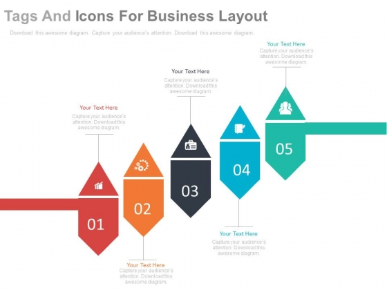 Five Tags And Icons For Business Process Powerpoint Template