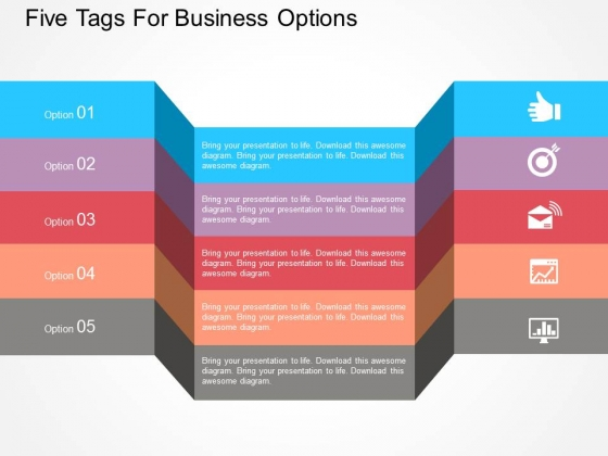 Five Tags For Business Options Powerpoint Template