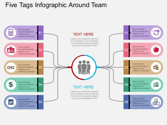 Five Tags Infographic Around Team Powerpoint Templates
