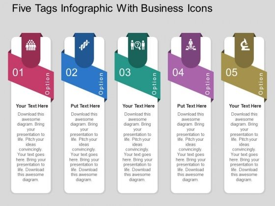 Five Tags Infographic With Business Icons Powerpoint Templates
