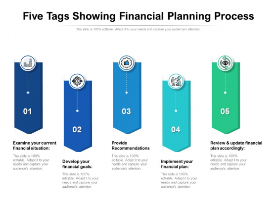 Five Tags Showing Financial Planning Process Ppt PowerPoint Presentation Professional Microsoft PDF