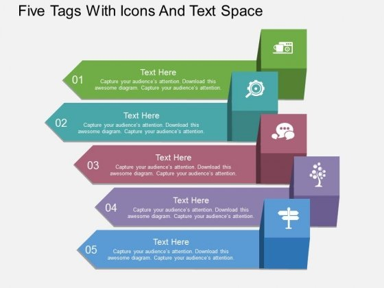 Five Tags With Icons And Text Space Powerpoint Template