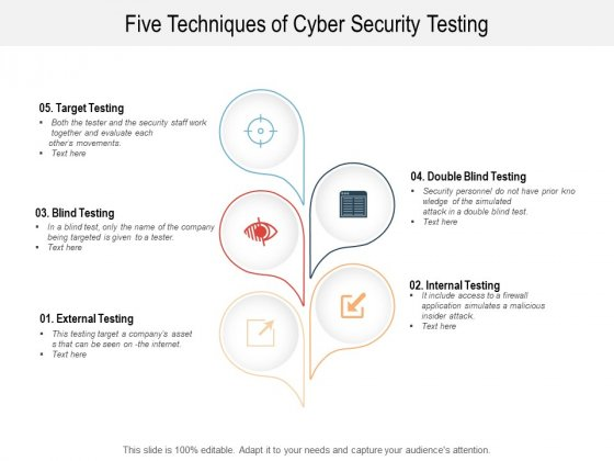 Five Techniques Of Cyber Security Testing Ppt PowerPoint Presentation Layouts Model