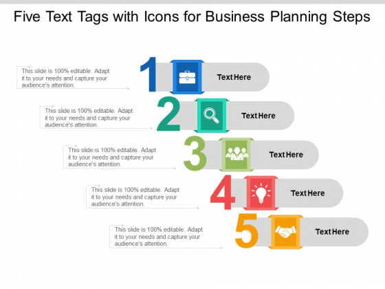 Five Text Tags With Icons For Business Planning Steps Ppt PowerPoint Presentation Layouts Graphics Download