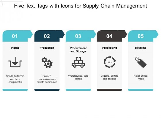 Five Text Tags With Icons For Supply Chain Management Ppt