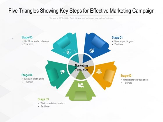 Five Triangles Showing Key Steps For Effective Marketing Campaign Ppt PowerPoint Presentation File Model PDF