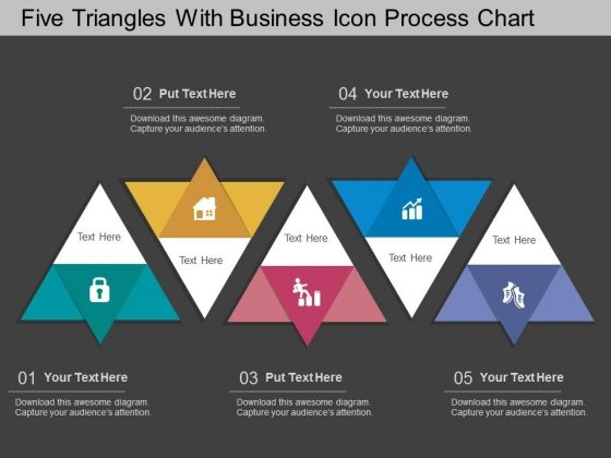 Five Triangles With Business Icon Process Chart Powerpoint Template
