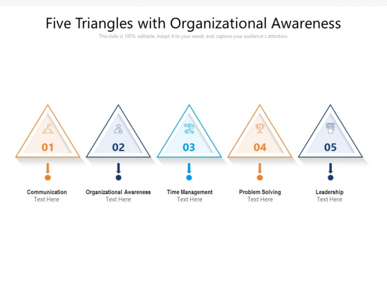 Five Triangles With Organizational Awareness Ppt PowerPoint Presentation File Maker PDF