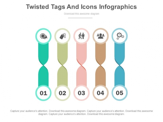 Five Twisted Tags For Option Pricing Powerpoint Template