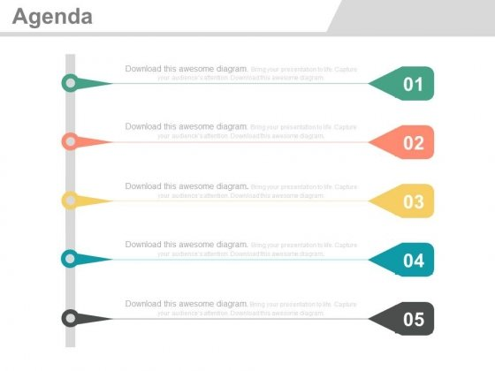 Five Vertical Steps For Agenda Analysis Powerpoint Slides