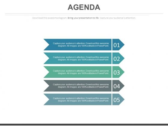 Five Vertical Tags For Business Agenda Powerpoint Slides