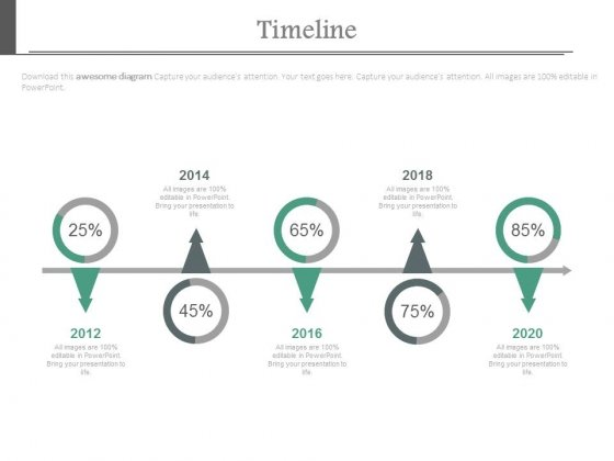 Five Yearly Sequential Timeline With Percentage Values Powerpoint Slides