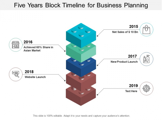 Five Years Block Timeline For Business Planning Ppt Powerpoint Presentation Portfolio Brochure