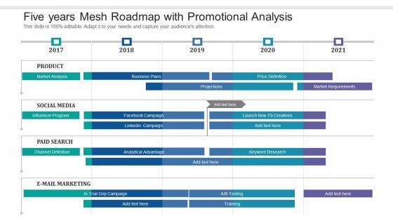 Five Years Mesh Roadmap With Promotional Analysis Infographics