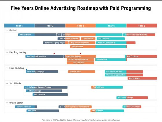 Five Years Online Advertising Roadmap With Paid Programming Template
