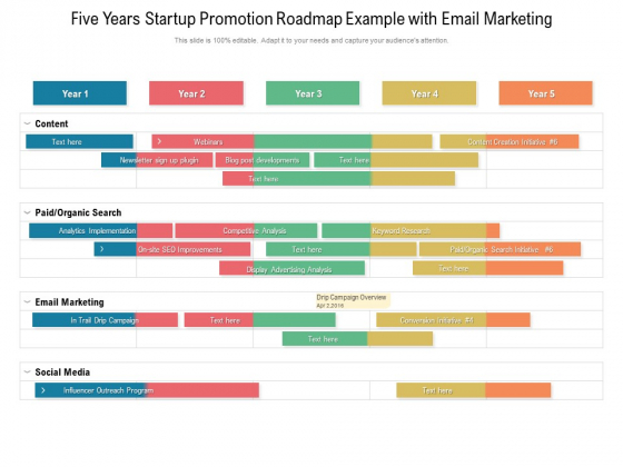 Five Years Startup Promotion Roadmap Example With Email Marketing Elements