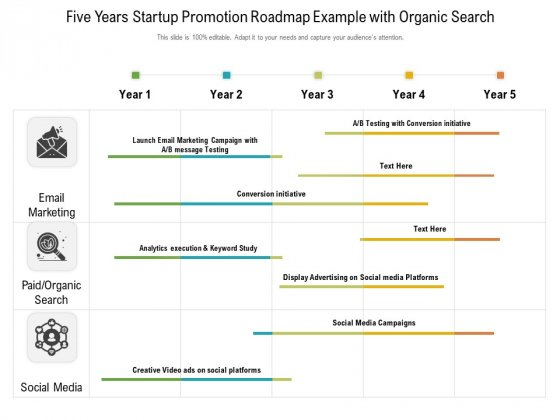 Five Years Startup Promotion Roadmap Example With Organic Search Infographics