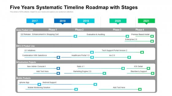 Five Years Systematic Timeline Roadmap With Stages Microsoft