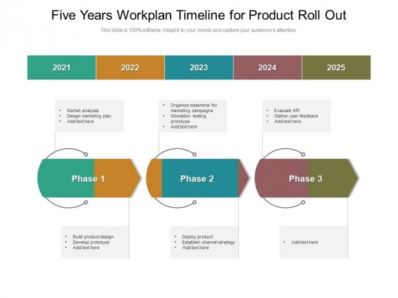 Five Years Workplan Timeline For Product Roll Out Diagrams