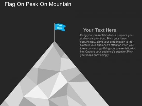 Flag On Peak On Mountain Powerpoint Templates
