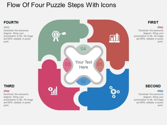 Flow Of Four Puzzle Steps With Icons PowerPoint Template