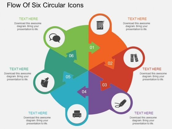 Flow Of Six Circular Icons Powerpoint Template